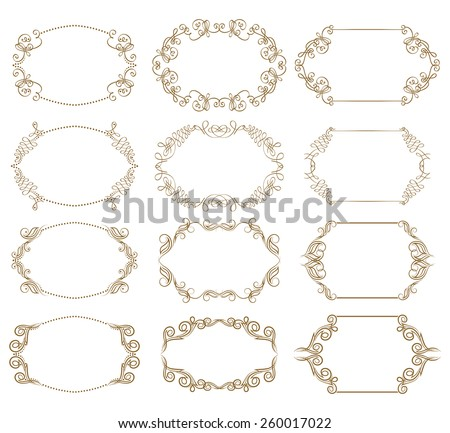 Vector set of decorative ornate frames with floral elements for design of invitations, greeting, gift cards. Page decoration in vintage style. - stock vector