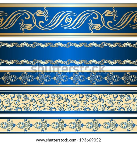 Vector set of decorative ribbon with floral seamless pattern. - stock vector