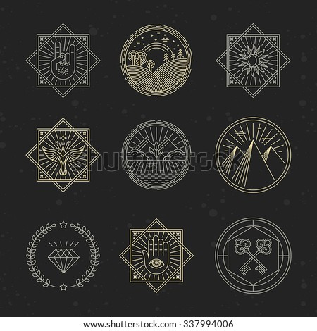 Vector set of design elements, emblems and logo design templates - concepts related to tattoo, magic, alchemy in trendy linear style on black background - stock vector