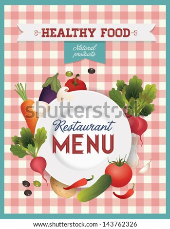 Vector set of design elements for the menu on the chalkboard. Vector vegetables illustration with plate.