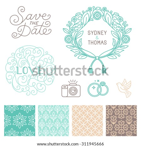 Vector set of design elements, hand-lettering, icons and seamless patterns in trendy elegant linear style for wedding invitations and greeting cards - design templates on white background - stock vector