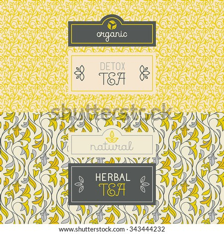 Vector set of design elements, labels and seamless pattern for packaging for herbal and detox tea - healthy and organic drinks concepts - stock vector