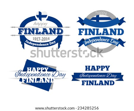 vector set of design elements labels badges on the theme of independence Day of the Finnish Republic - stock vector