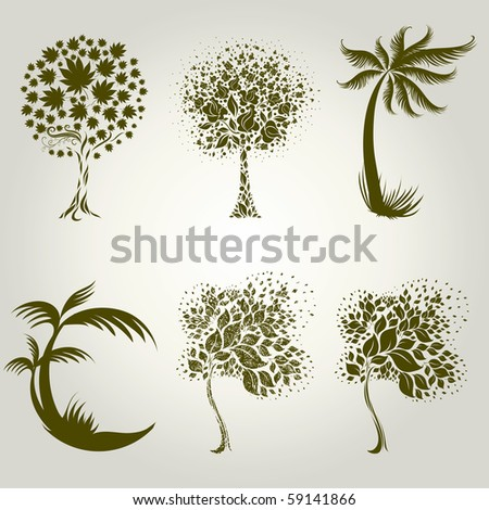 Vector set of designs with decorative tree from leafs. Thanksgiving - stock vector