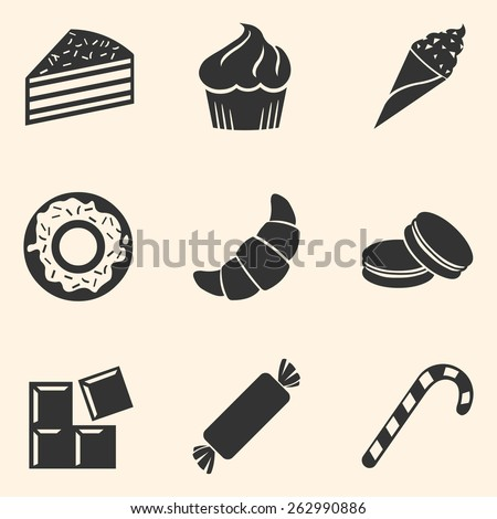 Vector Set of Dessert Icons. Sweet-Stuff. Confection. Cake, Brownie, Ice Cream, Doughnut, Croissant, Macaroni, Chocolate, Candy, Candy Cane.  - stock vector