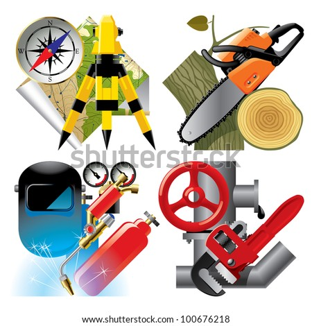 Vector set of detailed job occupation icons with tools and equipment