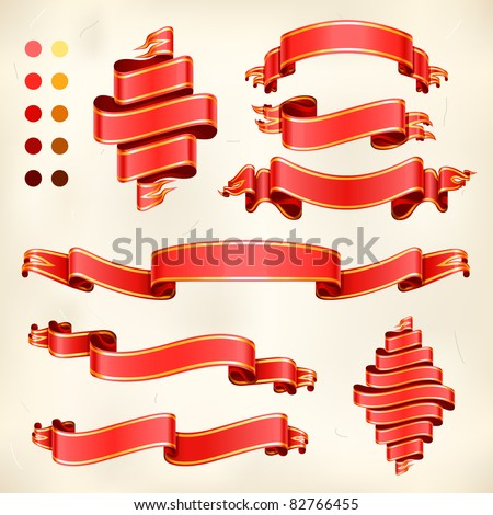 vector set of detailed luxury red ribbon banners with golden stripes - stock vector