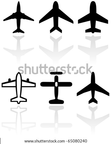 Vector set of different airplane symbols. All vector objects are isolated. Colors and transparent background color are easy to adjust. - stock vector