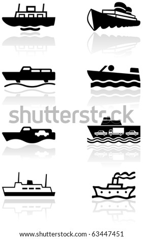 Vector set of different boat illustrations or symbols. All vector objects are isolated. Colors and transparent background color are easy to adjust. - stock vector