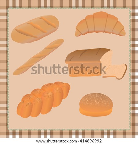vector set of different bread on tablecloth