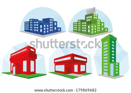 Vector Set Of Different Building Icons Isolated - stock vector