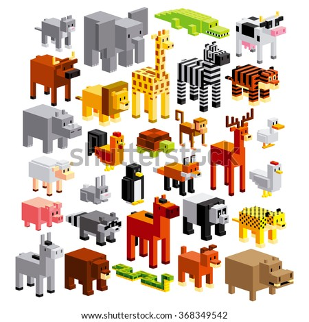 Vector Set Of Different Cartoon Animals Isolated - stock vector