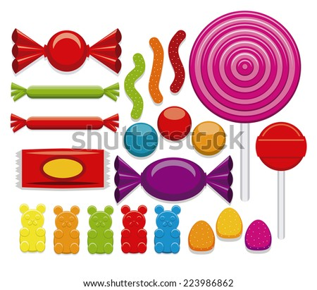 Vector Set Of Different Cartoon Candies Isolated