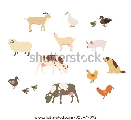 Vector set of different cartoon farm animals - Vector illustration- isolated on white background. - stock vector
