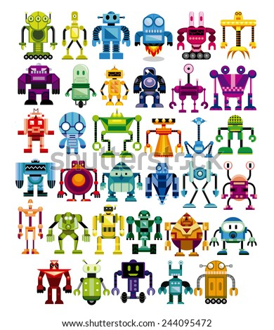 Vector Set Of Different Cartoon Robots Isolated - stock vector