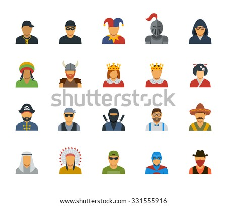 Vector set of different characters avatars - stock vector