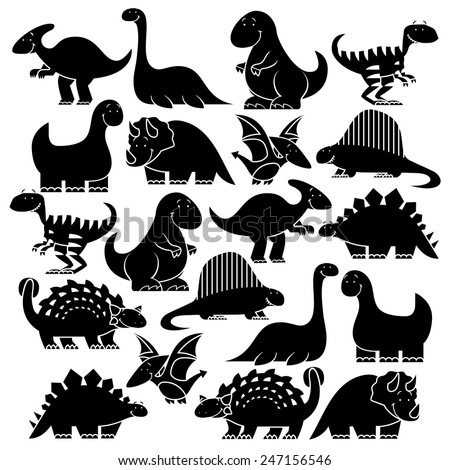 Vector Set Of Different Cute Cartoon Dinosaurs - stock vector