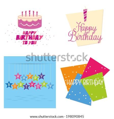 Vector Set Different Cute Happy Birthday Stock Vector 198090845
