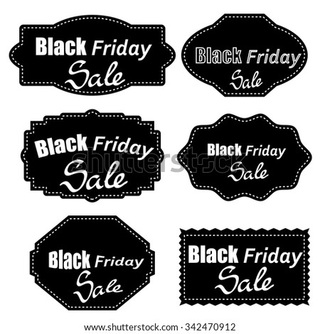 Vector Set of Different Dark Stickers Isolated on White Background. Black Fridays Labels. - stock vector