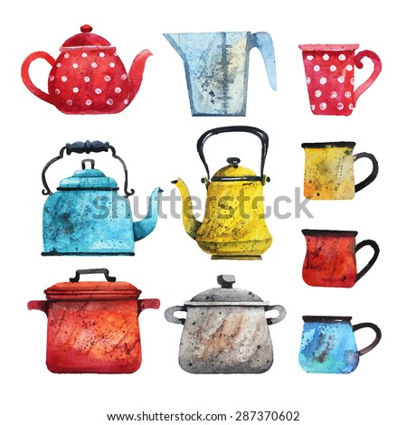 Vector set of different dishes in watercolor style. Teapots, cups, Tea kettles in different colors. Watercolor painting. - stock vector