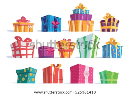 Vector set different gift boxesbeautiful present vector set of different gift boxesautiful present box with overwhelming bow vector illustration negle Gallery