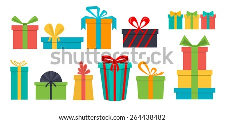 Vector set of different gift boxes. Flat design.  - stock vector