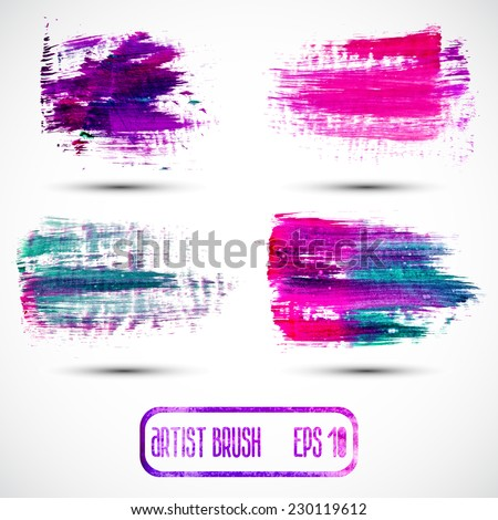 Vector set of different grunge brush strokes. - stock vector
