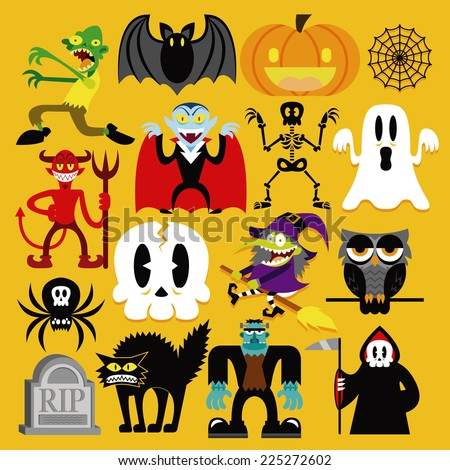 Vector Set Of Different Halloween Elements And Characters Isolated - stock vector