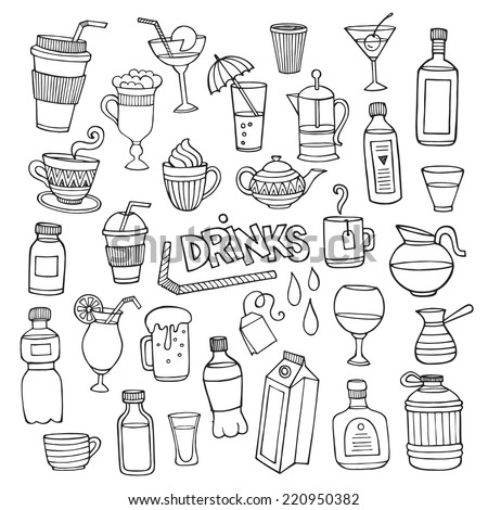 Vector set of different hand drawn beverages. Vector illustration  - stock vector