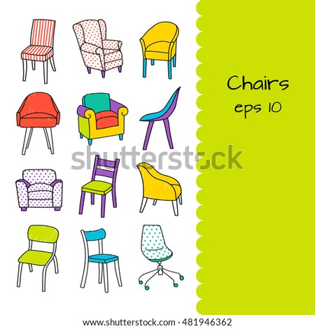 Merveilleux Vector Set Of Different Kinds Of Chairs With Plenty Space For Your Text