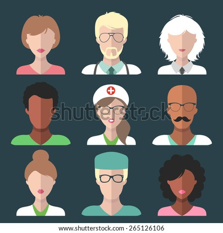 Vector set of different medical clinic man and woman app icons in trendy flat style - stock vector