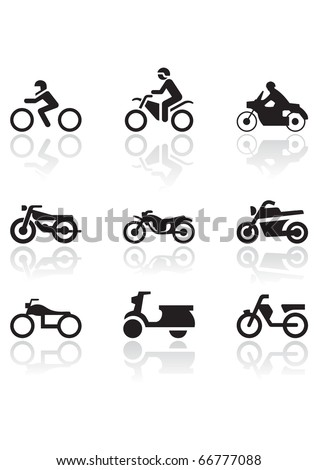 Vector set of different motorbike symbols. All vector objects are isolated. Colors and transparent background color are easy to adjust. - stock vector