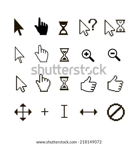 Vector set of different mouse cursors: finger hand thumb up and magnifier - stock vector