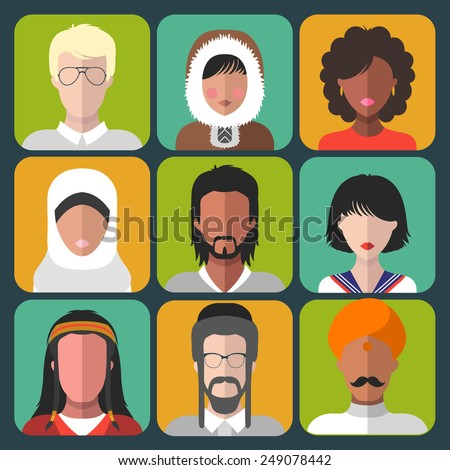Vector set of different nationality man and woman icons in trendy flat style - stock vector
