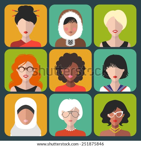 Vector set of different nationality woman icons in trendy flat style - stock vector