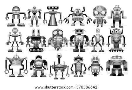 Vector Set Of Different Robots Isolated On Background