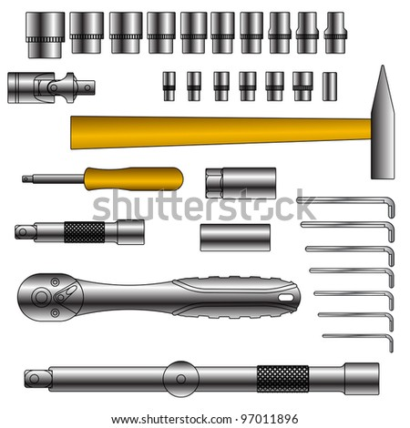 vector set of different tools over white background - stock vector