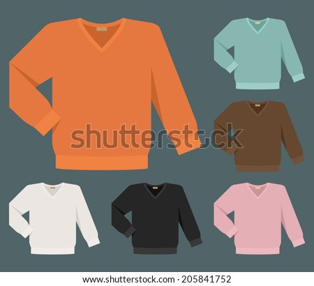 Vector set of different v-neck plain color sweaters for men - stock vector