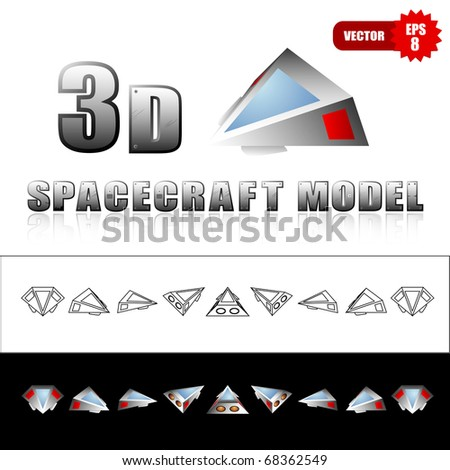 Vector set of different views of spaceship - stock vector