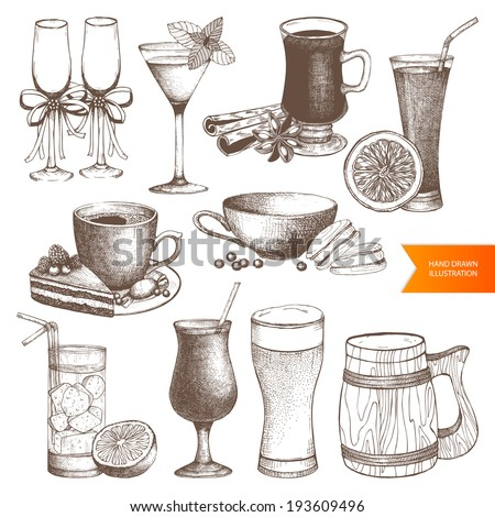Vector set of different vintage drinks for menu design. Hand drawn dessert and drinks  illustrations isolated on white. - stock vector