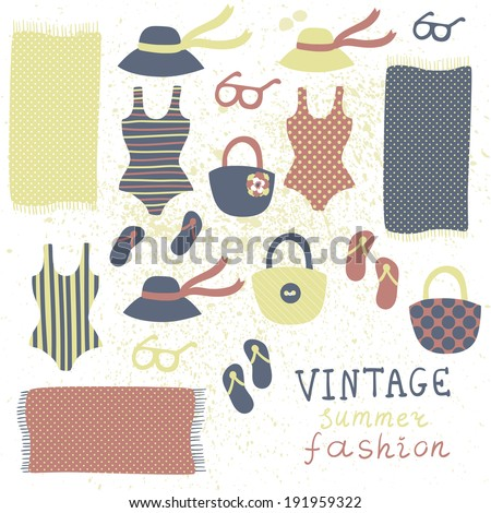 Vector set of different vintage fashion clothing and elements: swimsuits, flip flops, hats, glasses, bags and beach towels - stock vector