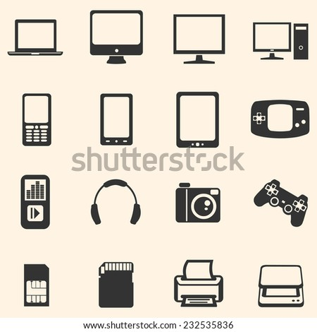 Vector Set of Digital Devices Icons. Laptop, Monitor, PC, Mobile, Smart Phone, Tablet, Game Consol, Audio Player, Headphones, Camera, Joystick, SIM-card, Memory Card, Printer, Scanner.