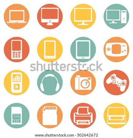 Vector Set of Digital Devices Icons. Laptop, Monitor, PC, Mobile, Smartphone, Tablet, Game Consol, Audio Player, Headphones, Camera, Joystick, SIM-card, Memory Card, Printer, Scanner.