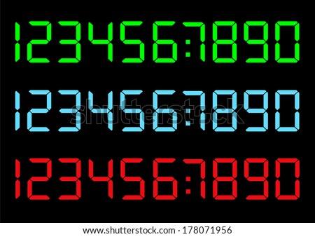 Vector set of digital numbers - stock vector