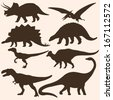 vector set of 8 dinosaurs silhouettes  - stock photo