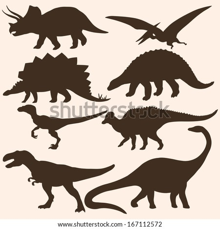 vector set of 8 dinosaurs silhouettes  - stock vector