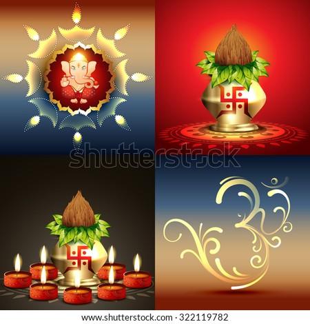 vector set of diwali background with lord ganesha and diwali diya illustration - stock vector