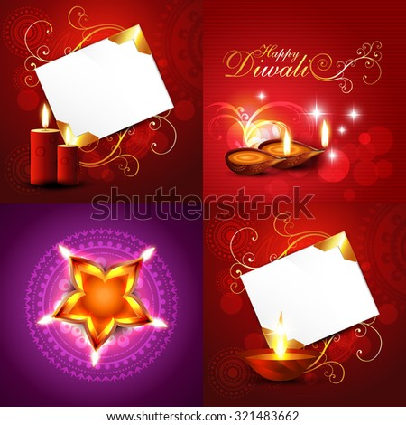 vector set of diwali holiday background illustration with decorated diya, candle, florals and rangoli design - stock vector