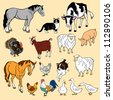 vector set of domestic animals,isolated pictures - stock vector