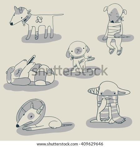 Vector set of doodle cartoon ill dog characters - stock vector